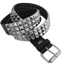 Bullet 69 3 Row Small Pyramid Stud Black Leather Rocker Biker Belt Sizes S - XL
