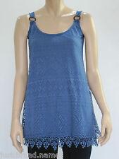 Crossroads Ladies Sleeveless Burnout Lace Tunic Top sizes 8 12 Colour Blue