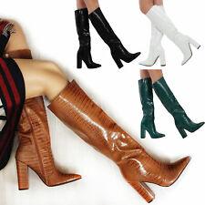 Stivali donna scarpe a punta coccodrillo ginocchio tacchi alti TOOCOOL X8062