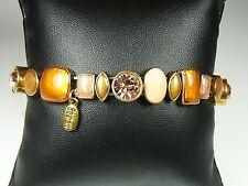 Pilgrim Armband, Armkette, Modeschmuck, Schmuck, Lachs, Grün, Braun, Steine