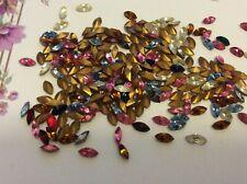 Swarovski #4200/2 Navettes 6x3mm REPAIR Vintage Gold Foiled Pack 18 Post Free