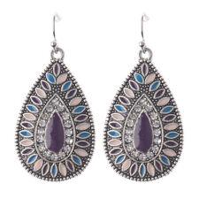 Retro Bohemian Boho Crystals Colorful Resin Waterdrop Silver Pld Dangle Earrings