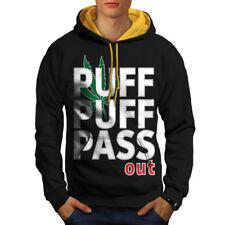 Puff Weed Marijuana Rasta Men Contrast Hoodie NEW | Wellcoda