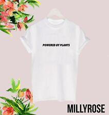 POWERED BY PLANTS VEGAN VEGGIE WOMENS SLOGAN FUNNY GIFT T SHIRT TEE TOP RETRO