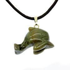 Dolphin Pendant Necklaces Semi Precious Gems Jasper  Unakite