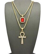 "Hip Hop Gemstone, Ankh Cross Pendant 24"",30"" Box Chain 2 Necklace Set Rc1789"