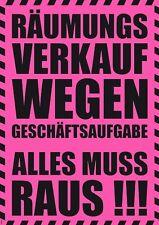 "NEON Plakat ""Räumungsverkauf Alles muss raus! Geschäftsaufgabe"