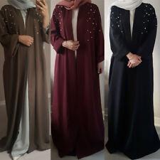 Muslim Women Open Front Abaya Robe Handmade Pearl Kaftan Islamic Maxi Long Dress