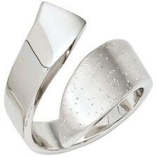 Damen Ring offen 925 Sterling Silber mattiert mit Glitzereffekt Silberring