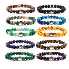 Cute Dog Paw Print Charm Rainbow Chakra Healing 8MM Bead Stretch Bracelet Gifts