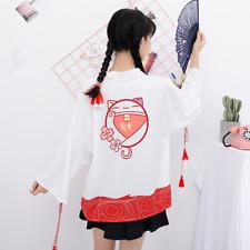 Lady Japanese Kimono Coat Cardigan Outwear Bathrobe Yukata Loose Jacket Top Cute