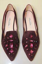 $850 NEW OSCAR De La RENTA  Hilery embellished BURGUNDY suede flats Shoes 41