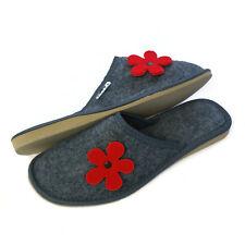 New RED FLOWER Ladies Women's Girls Slip on Felt Slippers Home Guest Travel  DV