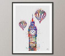 Big Ben Vintage Hot Air Balloon Londres Inglaterra Acuarela Impresión Pared Decoración Arte