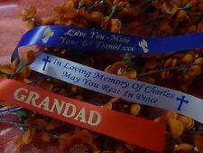 PERSONALISED FUNERAL RIBBON 25mm WIDE x 1 METRE FLOWERS WREATH MEMORIAL TRIBUTE