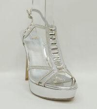 Shi by Journeys Silver Evening Sandals Stiletto Platform LIPSTICK Women's Shoes
