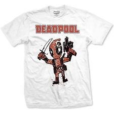 Official T Shirt DEADPOOL- CARTOON BULLET All Sizes White Mens Licensed Merch
