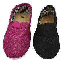 woman Sparkle Glitter Canvas Slip On Flats Shoes