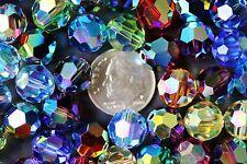 6 X Swarovski ROUND Beads #5000 10mm SUPER SPARKLY AB 2X Colors RARE!!