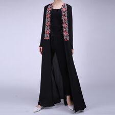 Women Flower Waterfall Cardigan Open Front Ladies Muslim Abaya Jilbab Maxi Dress