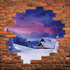 Sticker mural trompe l'oeil mur de pierre maison à la montagne réf 843