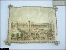 19C. Antique Souvenir Paris Color Print On Silk Canvas