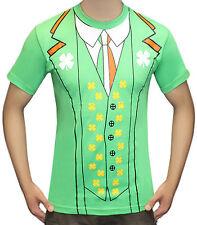 Irlandés impresos Camiseta duende Trébol San Patricio Paddys Día Verde Fútbol