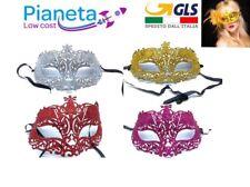 Maschere veneziane carnevale viso glitter piuma festa mask party teatro costumi