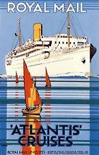 ROYAL MAIL ATLANTIS CRUCEROS Poster Cartel De Viajes Clásico Tamaños A1 A2 A3 A4