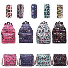 Girls Canvas Butterfly Backpack School Shoulder Bag Travel Rucksack  Pencil Case