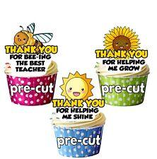 PRECUT Thank You Teacher Cup Cake Toppers Decorations Fairy Bun - Bee Sun Flower