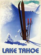 Lake Tahoe Ski Winter Race Sport Skis Mountain Vintage Poster Repro FREE S/H