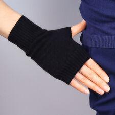 New Cashmere Wool Fingerless Gloves Arm Warmer Mitten Stretchy Wrist Long Black