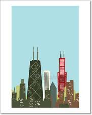 Cartoon Chicago Skyline Art Print Home Decor Wall Art Poster - D