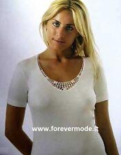 3 Maglia donna Intissimopiu manica corta in lana cotone con bordo pizzo art 897