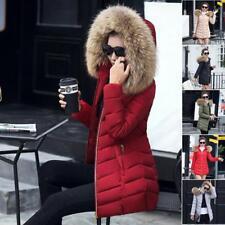 Women's Winter Warm Fur Collar Hooded Coat Down Cotton Jacket Slim Parka Outwear