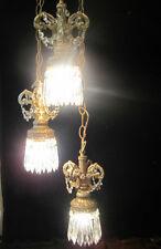Hollywood Regency Vintage hanging Swag lamp chandelier spelter brass metal cryst