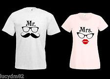 T-SHIRT UOMO DONNA MR MRS con occhiali MAGLIETTA X COPPIA MATRIMONIO S.Valentino