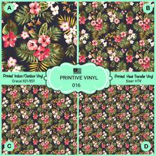 Tropical Flower Pattern Printed HTV, Oracal ,Siser, Craft vinyl-  016