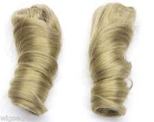 Premium Pair Goldilocks spiral curls Human Hair Pigtails Clip-in-Extensions 18in