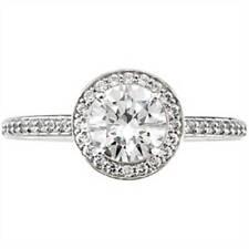 1ct Pave Halo Diamond Engagement Ring 14K White Gold