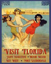 Florida Miami Beach Key West Fort Lauderdale Travel 16X20 Vintage Poster FREE SH
