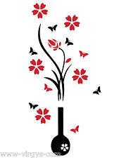 Sticker Nature Fleur dans vase et Papillons Bicolore, 90x43 cm (FLEUR038d)