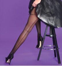 Scarlet Seamer Tights Black Nude Red 15 Denier Sheer Medium New Cuban Heel Silky