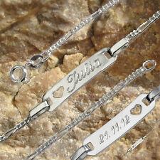 Silber Armband mit Gravur Vorderseite oder beidseitig inkl, 19 cm, Figaro  i919
