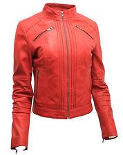 da donna 100% PELLE NAPPA ROSSO PIEGHE Brando giacca da motociclista