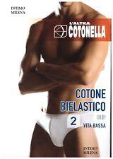 6 SLIP UOMO COTONELLA VITA BASSA ART GU016 IN COTONE ELASTICIZZATO BIANCO E NERO