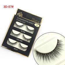 3 Pairs New Fashion 3D False Eyelashes Natural Long Eye Lashes Makeup Fashion LS