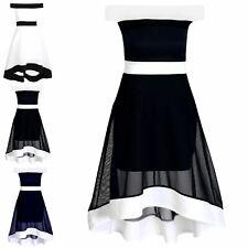 Womens Off The Shoulder Contrast Panel Bardot Ladies High Low Skater Mini Dress