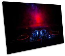 DJ Decks Headphones Turntables Framed SINGLE CANVAS PRINT Wall Art